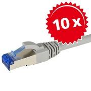10x Patch Cables Cat6A S/FTP RJ45 3m gr.